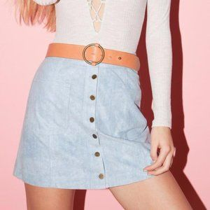 COTTON CANDY LA Light Blue Vegan Suede Skirt